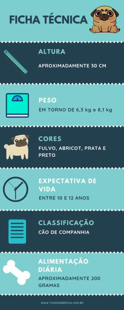 Infográfico características do cachorro pug